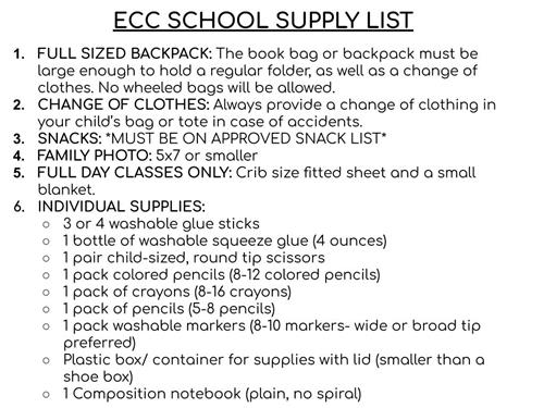 Ecc School Supply List